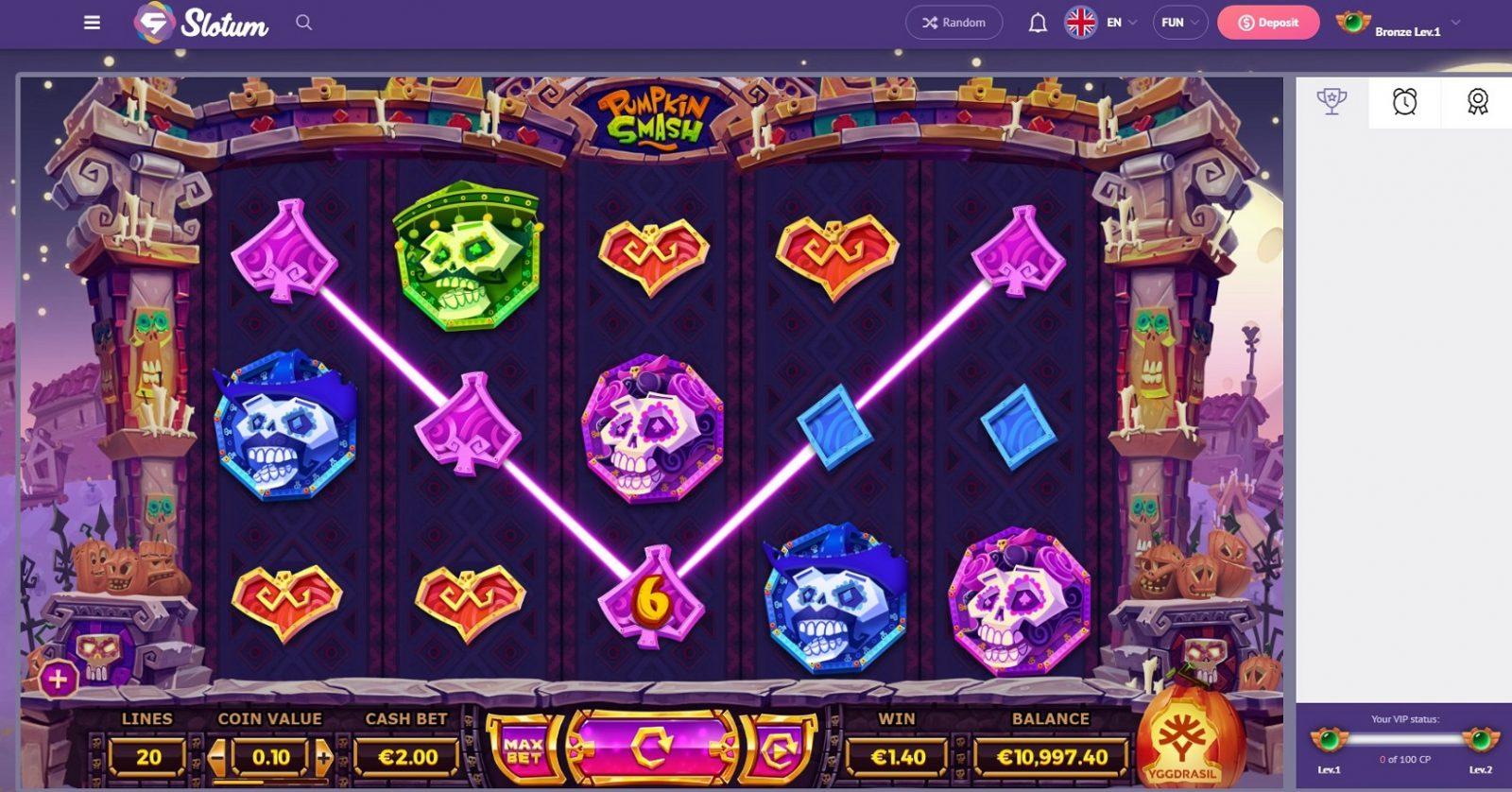 Slotum_casino_PumPkinSmash_game
